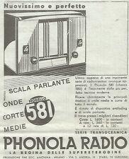 W7025 PHONOLA RADIO modello 581 Scala parlante - Pubblicità del 1933 - Advert