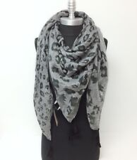 New Women Square Scarf Multi scale leopard print w/ tassels Soft Wrap Shawl Grey