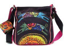 Laurel Burch Dog Tales Bright Purple Red Canvas Medium Satchel Tote Handbag NWT
