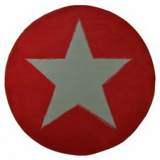 Design Suede Rug Star Round Red Grey 140 cm Short-pile Modern