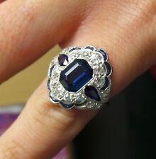 Antique Art Deco Sapphire & Diamond Platinum Cocktail Ring Size 4.5