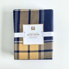 NEW Pottery Barn Teen Crosby  plaid Queen Duvet Cover only  Navy Yellow