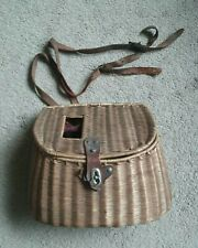 New listing Vintage Wicker Fish Basket Fishing Creel With Metal & Leather Latch and Strap