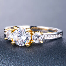 White Sapphire for Women Ring Size 9 Two Tone 925 Silver Rings Fashion Round Cut