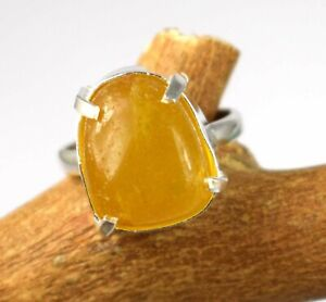Unisex Jewelry 34.70 Ct Natural Yellow Sapphire Cabochon Gemstone Silver Ring