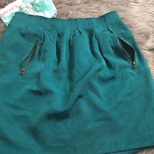 Zara Womens Skirt Teal Zipper Pockets Pleated Trendy Mid Length Size Small