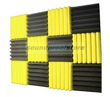 2x12x12 (12 Pk) YELLOW/CHARCOAL Acoustic Wedge Soundproofing Studio Foam Tiles