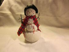 Flocked snowman figurine, starched sock snowman