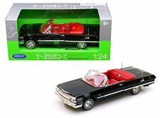 WELLY 1:24 W/B 1963 CHEVROLET IMPALA CONVERTIBLE Diecast Car Model Black 22434W
