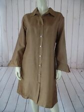 Anne Carson Dress M Bronze Silk Slub Button Front Shirt Style Side Slits