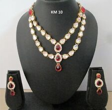 Indian Traditional CZ Crystal Kundan Fashion Jewelry Necklace Earring Sets KM 10