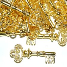ML5110p Bright Gold Skeleton Key 32mm Pendant Charm Drop Focal 25pc