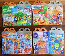 McDonald's 1993 Disney Snow White Happy Meal Boxes Complete Set of 4 Never Used!