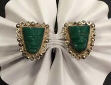 Sterling Silver Green Stone Face screw clip on earrings