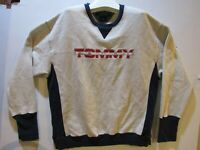 vtg 90's Tommy Jeans Hilfiger sweatshirt puff red logo XL gray blue spell out