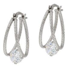 QVC Diamonique White 100-Facet Split Hoop Earrings, Sterling