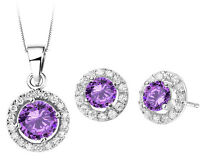 Diamante Bridal Jewellery Set Purple Zircon Silver Circle Earrings Necklace S619