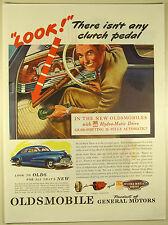 Vintage 1945 OLDSMOBILE HYDRA-MATIC DRIVE Lg Magazine Print Ad - Auto NO CLUTCH!