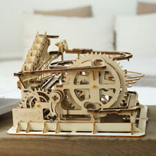ROKR DIY Waterwheel Coaster Wooden Model Building Kits Wood Marble Run Game Toy