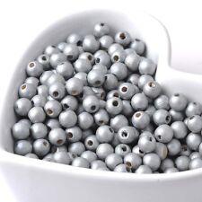 50 perles en bois 6mm couleur Argenté 6 mm creation colier, attache tetine