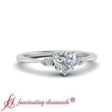 3/4 Carat Heart Shaped Diamond 18K White Gold Engagement Ring With Pear Accents