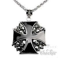 XXL Edelstahl Anhänger Eisernes Kreuz Totenkopf groß Bikerschmuck + Königskette