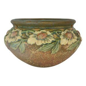 Roseville Pottery Dahlrose 1928 Arts And Crafts Hanging Basket 343-6