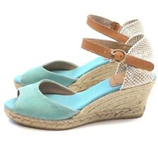 KANNA Espadrille Wedge Sandal Size 10 EUR 41 Blue Suede Open Toe Made in Spain
