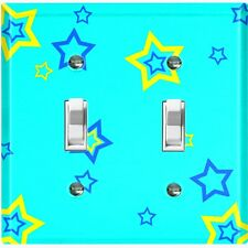 Metal Light Switch Cover Wall Plate Blue Yellow Star Party Teal STR001