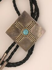 Custom Made Sterling Silver and 14K Gold Zia Bolo with Turquoise