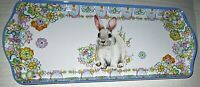 "EASTER Melamine Serving Tray 15"" x 7""  BUNNY RABBIT W/ SPRING FLOWERS"
