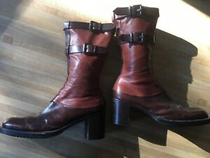 VIC MATIE Vintage Two Tone Brown Leather Calf Boots Made in Italy Sz 37