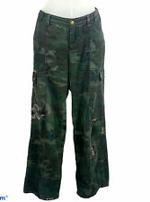 DA-NANG Green Corduroy Camouflage Cargo Pants Womens Sz M Vintage Embroidered