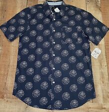 New OBEY Button Front LG Shirt Skater Surfer Short Sleeve Cotton Blue NWT $65