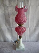 FENTON for LG WRIGHT Cranberry DAISY & FERN Opalescent Glass PARLOR BANQUET LAMP