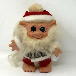 "Vintage Troll Santa Claus Doll Bank Hard Plastic Green Eyes 8"" Tall Mohair Beard"