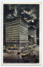 Vintage Postcard Kinney Building & National State Bank Night Newark, New Jersey