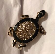 Gold Tone and Black Enamel Turtle Pin Brooch w/Gold Tone Heart Filigree Center