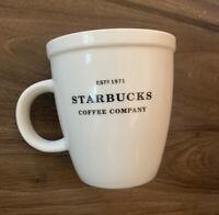 2007 STARBUCKS Coffee Large 18oz Cup Mug Barista Ed Abbey White Est 1971 Collect