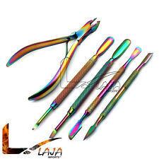 Set Of 5 Professional Cuticle Pusher Remover W/ Nipper Nail Art Set Multi Color