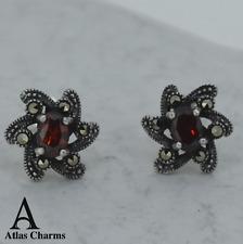 Flower Marcasite Red Garnet CZ Earrings Sterling Silver Studs Jewellery Box