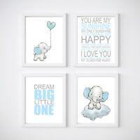 Elephant Nursery Room Decor, Kids Wall Prints, Blue, Pink, Mint, Twinkle Twinkle