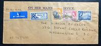 1954 Accra Gold Coast OHMS Airmail Cover to Liaison Officer Washington DC USA