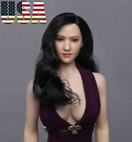 "1/6 Asian Female Head Sculpt Black Hair For 12"" PHICEN Hot Toys Figure ❶USA❶"