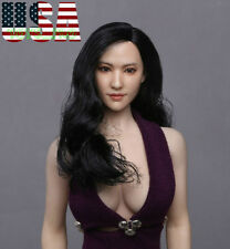 "1/6 Asian Female Head Sculpt Black Hair For 12"" PHICEN Hot Toys Figure ❶USA❶"