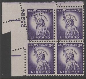 US 1035 plate number (25294) block/4 mnh FOLDOVER - 3 cts Statue of Liberty