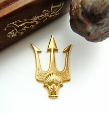 BRASS Poseidon's Trident Shell Spear Stamping ~ Jewelry Finding (FB-6071) *