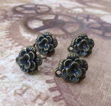 Lot de 10 Antique Bronze Fleur Boucles d'oreilles clous composant Clous D'Oreilles