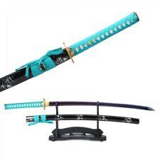 Handmade Blue Blade Printed Carbon Steel Real Japanese Katana Samurai Swords