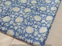 Cotton Block Sanganeri Fabric Indian Running Print Pure 100% By Yard Hand Gray